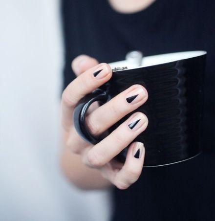 black triangle manicure