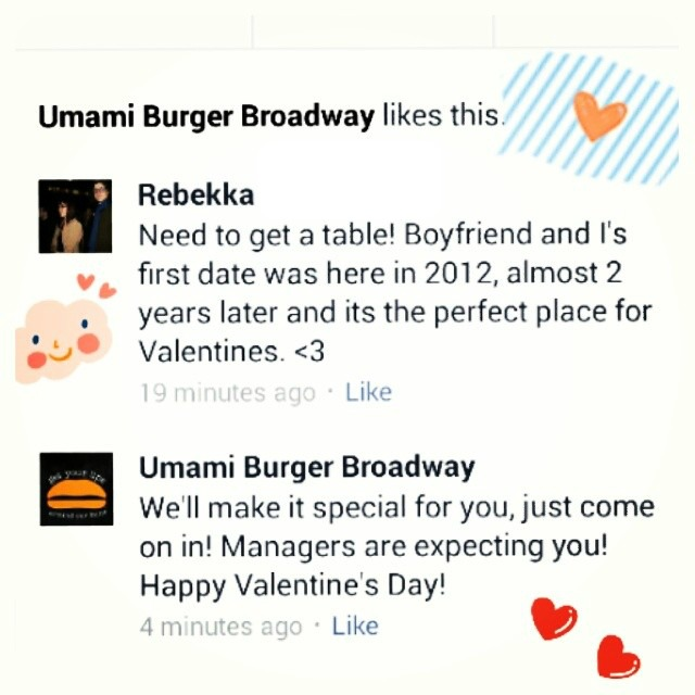 Umami Burger Broadway Valentines Day