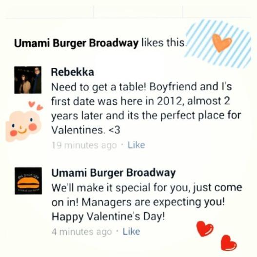 Umami Burger Broadway Valentines Day