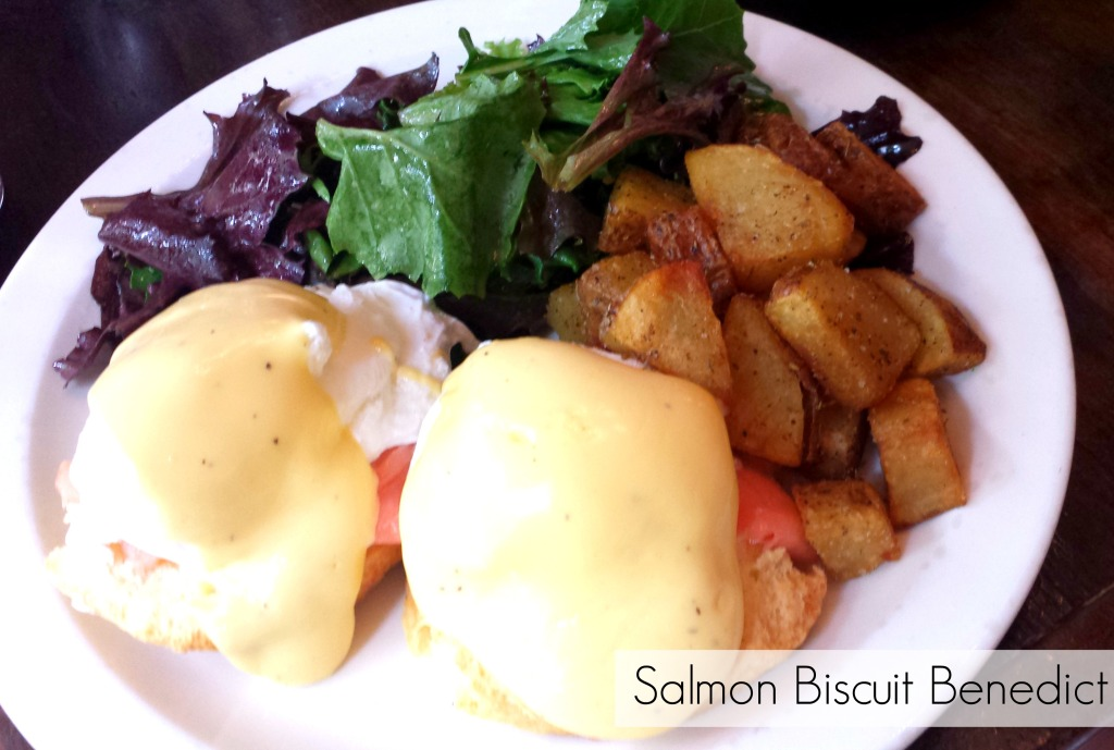 salmon eggs benedict on biscuit