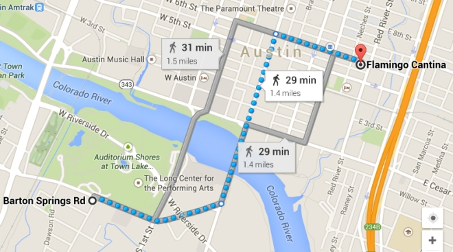 walk from 6th st to Barton Springs